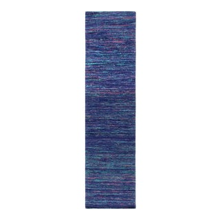 Pasargad Blue Sari-Silk Modern Flat Weave Runner 2'4'' X 10 For Sale