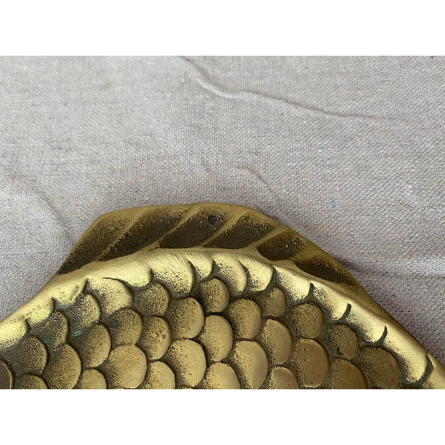 Mid-Century Modern Vintage Brass Fish Plate For Sale - Image 3 of 6