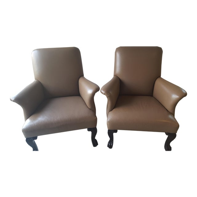 Michael Taylor Wing Arm Leather Chairs - A Pair - Image 1 of 5