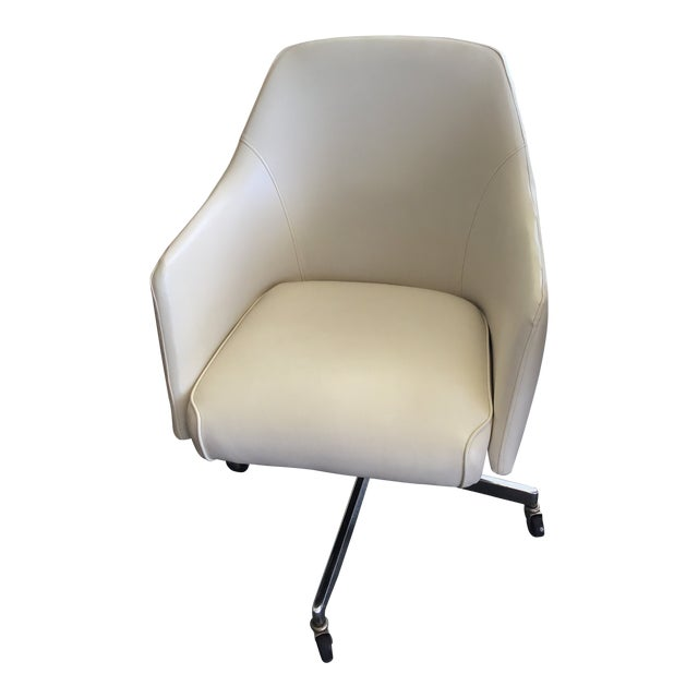 Mid Century Modern Ivory Vinyl Swivel Chair 1977 Adjustable Height For Sale