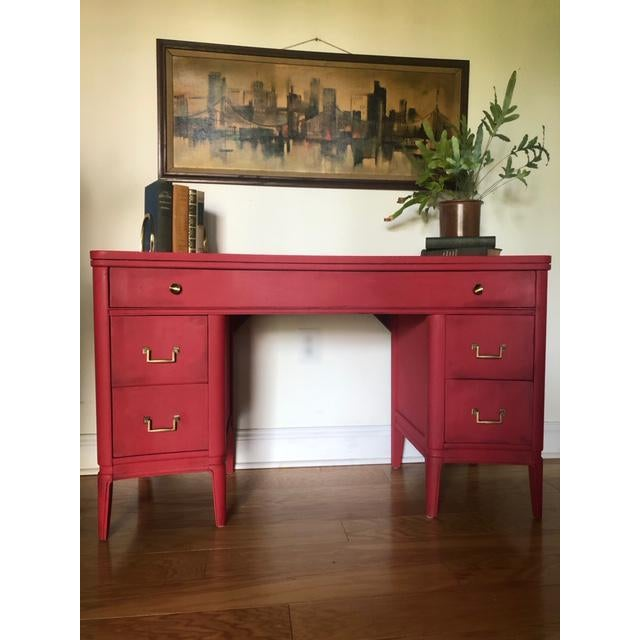 Here is a beautiful concave solid wood desk that was made in the 1940's. This piece has been hand painted in Annie Sloan's...