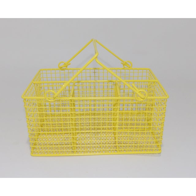 Electric Yellow Bathroom Toiletries Catchall Basket For Sale - Image 9 of 9