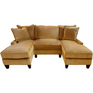 Stanford Double Chaise Sectional Sofa With Schumacher Mohair Velvet Upholstery For Sale