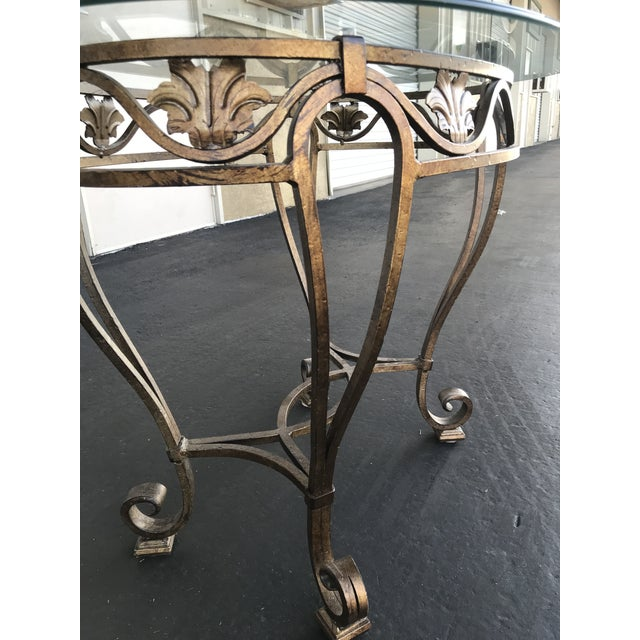 1980s Vintage Oval Metal Glass Top Table For Sale - Image 5 of 9