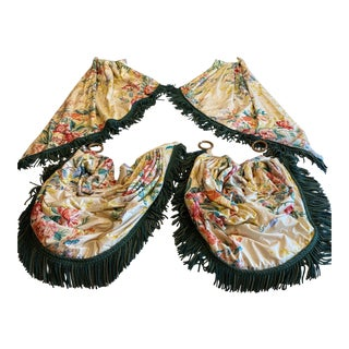 """1950s Custom Made Vintage Floral """"Chintz"""" Draperies Curtains With Swags 2 Panels and 2 Swags - Set of 6 For Sale"""