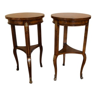 Traditional Two Councill Round Three-Legged Side Tables - a Pair For Sale