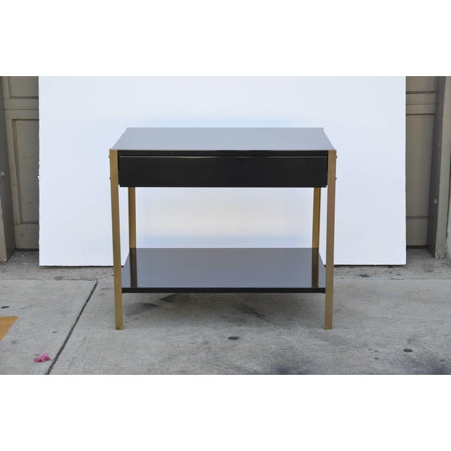 """Silver Contemporary Design Frères """"Laque"""" Black Lacquer and Brass Nightstands - a Pair For Sale - Image 8 of 9"""