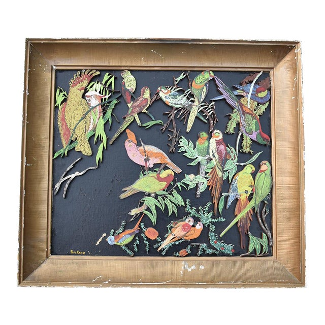 Bird Motif Painting Multi Color Gilt Frame Animalia Sam Katz Original Parrot Painting Wood Carving For Sale