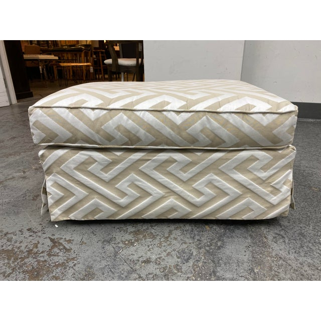 Champagne Lee Industries Custom Embossed Silk Ottoman For Sale - Image 8 of 8