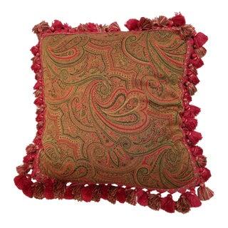 Woven Paisley Tassel Fringe Down Filled Pillow For Sale