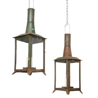 French Tôle Lanterns - a Pair For Sale