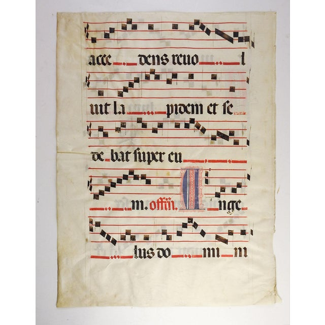 16th century antiphonal manuscript leaf on vellum. Large leaf from choir book or antiphoner. Medieval illuminated...