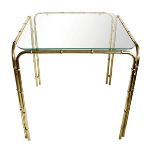 Brass Faux Bamboo Side Table For Sale