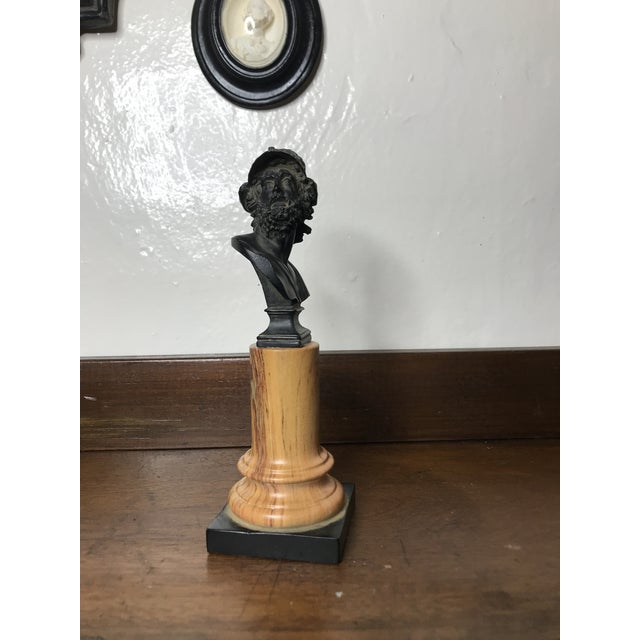 20th Century Grand Tour Tall Marbleized Column With Roman Warrior Bust For Sale - Image 4 of 12