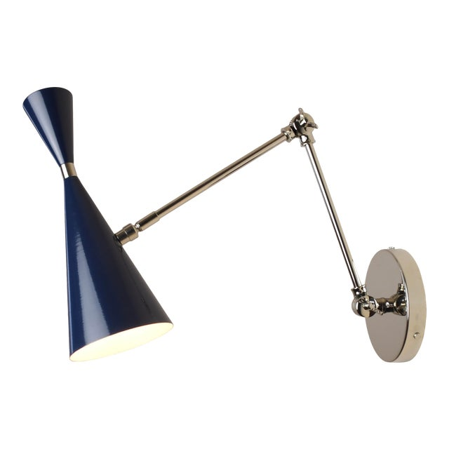 "Blueprint Lighting ""Monolith"" Italian Nickel and Dark Blue Enamel Reading Lamp For Sale"