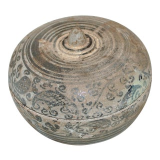 15th Century Southeast Asian Stoneware Covered Bowl For Sale