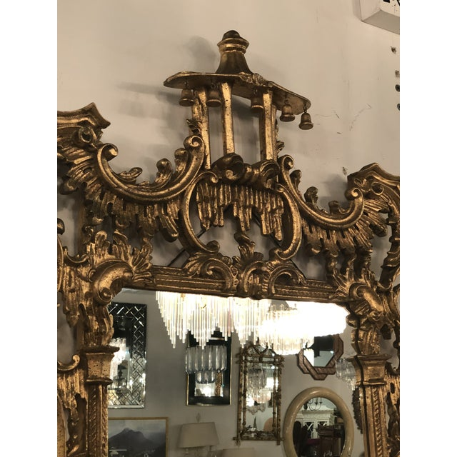Glass Vintage Chinoiserie Italian Labarge Carved Wood Pagoda Bells Wall Mirror For Sale - Image 7 of 13