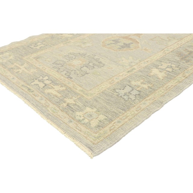 ​52951 Contemporary Turkish Oushak Runner with Modern Transitional Style 03'00 x 09'11.​ Blending elements from the modern...