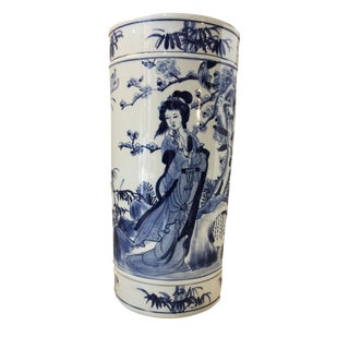 "H.Painted B & W Chinoiserie Umbrella Stand/Vase 19.5"" H"