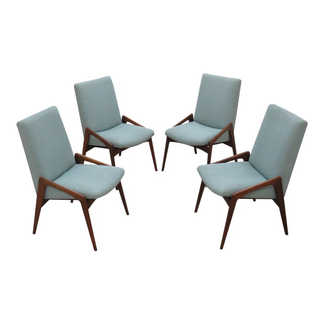 Midcentury Modern Walnut Dining Chairs - Set of 4 - Image 1 of 10