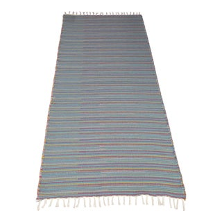"Flat Weave Turkish Wool Striped Blue Kilim Rug - 2'8"" X 7'6"""