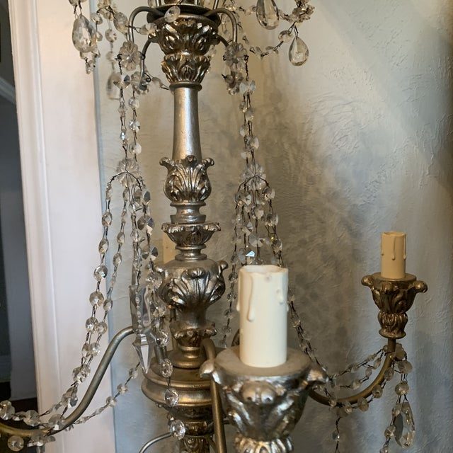 White 1940s Italian Crystal and Silver Gilt Iron Four Arm Chandelier For Sale - Image 8 of 12