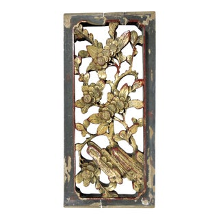"Antique Chinese Gold ""Cherry Blossom"" Wood Panel Fragment, Wall Hanging For Sale"