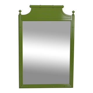 Mid-Century Apple Green Faux Bamboo Mirror