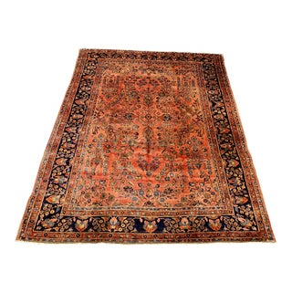 Early 20th Century Antique Persian Sarouk Area Rug - 8′5″ × 11′ For Sale