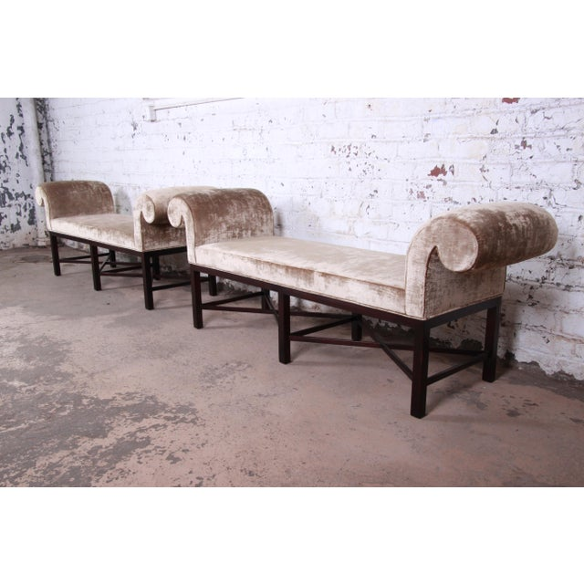 American Baker Furniture Mahogany and Velvet Window Bench For Sale - Image 3 of 12