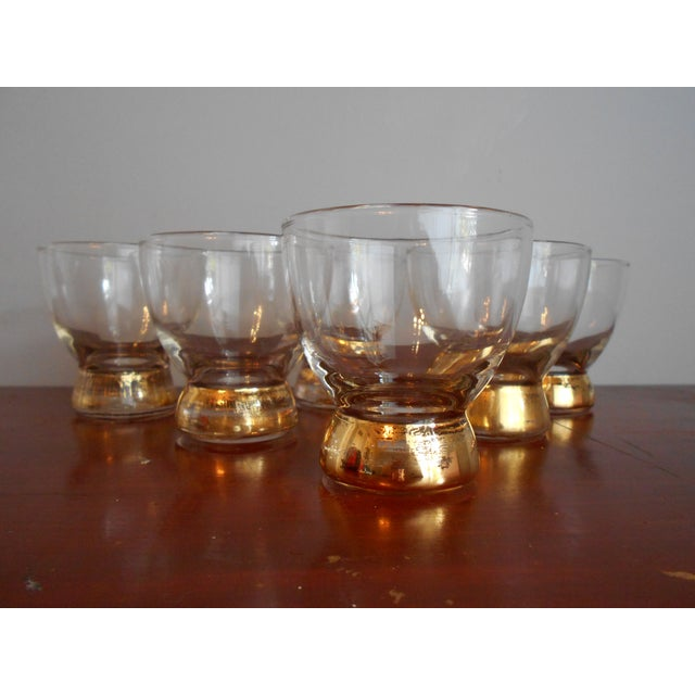 Mid-Century Modern Gold Base Cocktail Glasses - Set of 6 For Sale - Image 3 of 5