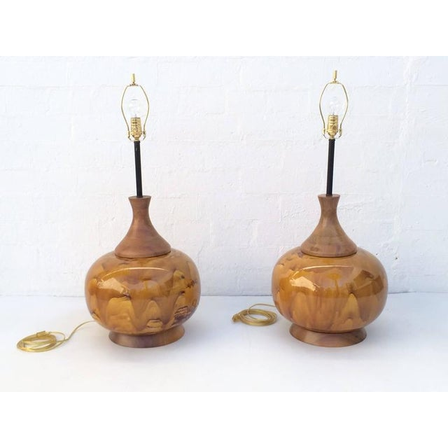 Brass Large Drip Glazed Ceramic Lamps - A Pair For Sale - Image 7 of 8