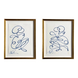"""""""Night in Paris #1 & #2"""" Contemporary Continuous Line Paintings by Kellie Lawler, Framed - a Pair For Sale"""