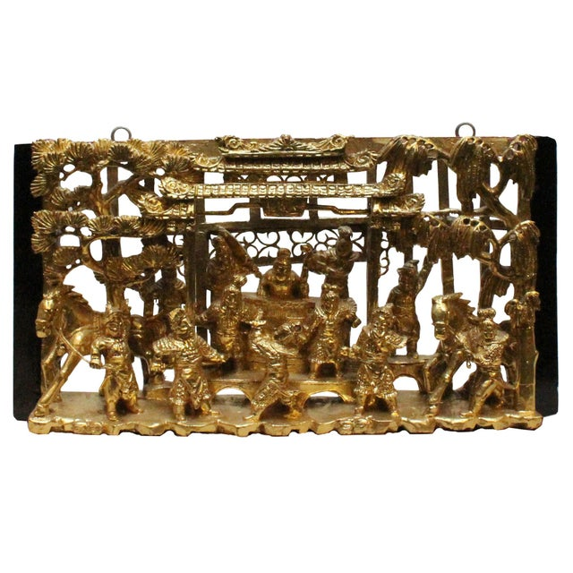 Gold Chinese Vintage Restored Warfield Opera Scenery Wooden Panel Wall Art For Sale - Image 8 of 9
