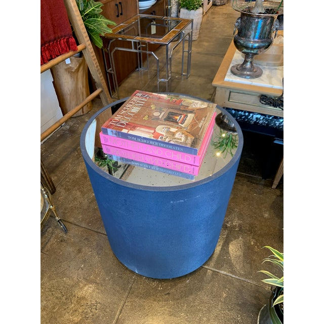 Contemporary Blue Faux Shagreen and Mirror End Table For Sale - Image 4 of 7