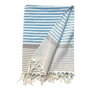 Turkish Tamam Swimming Pool + Taupe Terry Peştemal Handwoven Cotton Towel For Sale
