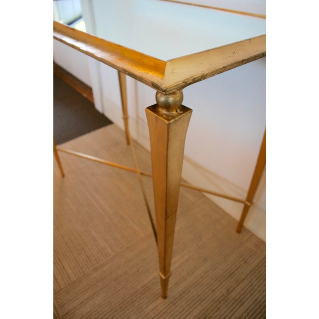 2010s Gold Leaf Mirrored Side Table For Sale - Image 5 of 7