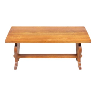 Oak Farmhouse Trestle Bench or Coffee Table With Carved Detail For Sale