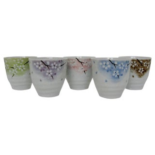Japanese Cherry Blossom Cups - Set of 5