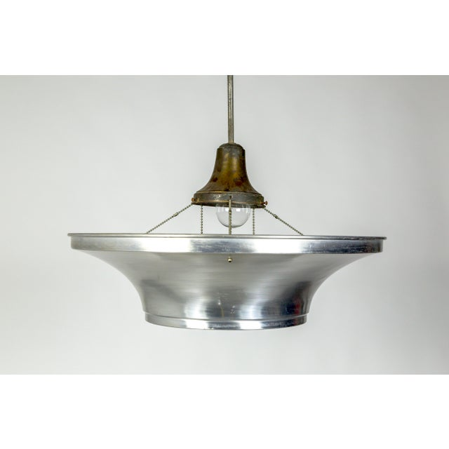 1930s Art Deco Aluminum Dish Pendants W/ Unique Glass Diffusers (2 Pairs Available) For Sale - Image 5 of 13