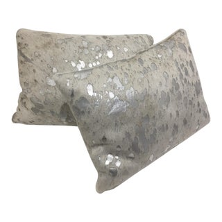 Modern Cowhide and Silver Rectangular Pillows - a Pair For Sale