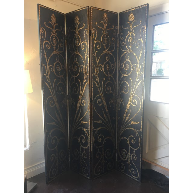French Style 4 Panel Room Divider/Screen For Sale - Image 10 of 11