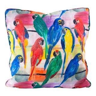 Hunt Slonem's Cotton Parrot Pillow Cover For Sale