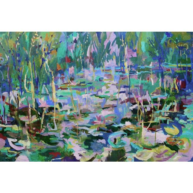 Monumental Lily Pond Oil Painting at Monet's Garden For Sale - Image 12 of 12