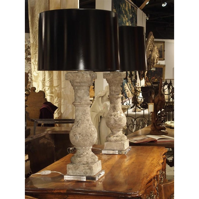 Pair of Antique French Re-Constituted Stone Baluster Lamps on Acrylic Bases For Sale - Image 4 of 12