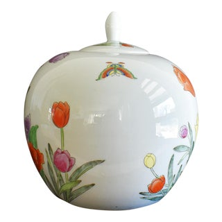 Floral Antique Guanzu Style Ginger Jar in White With Butterfly and Floral Accents Signed For Sale