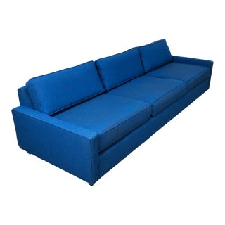 "Royal Blue Mid-Century Modern Sofa ~ 103"" Long For Sale"
