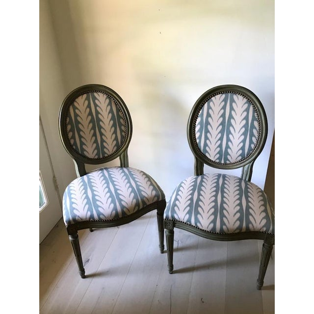 Late 20th Century Vintage Louis XVI Side Chairs - a Pair For Sale - Image 5 of 8