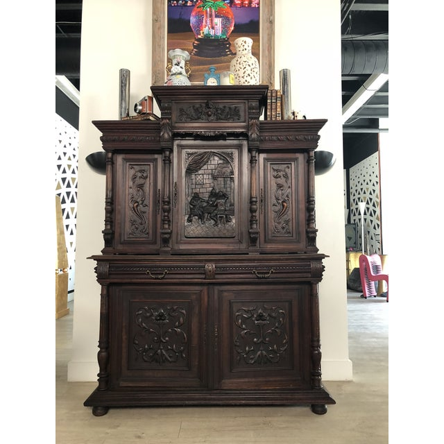 1800s Carved Antique Library Hutch For Sale - Image 11 of 11