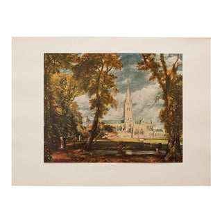 "Mid Century Vintage ""Salisbury Cathedral"" Lithograph by John Constable For Sale"